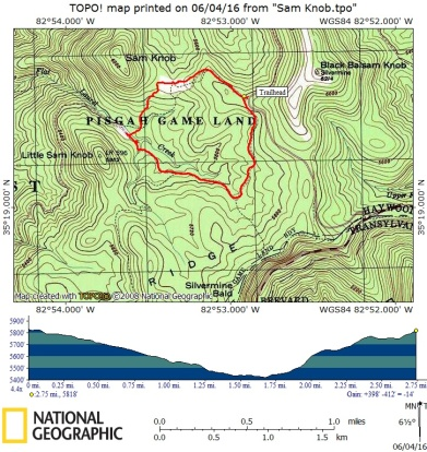 Our route - Sam Knob loop